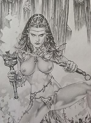 DEJAH THORIS Original Art - Nude Erotic Pinup Fantasy Comic Princess Mars Female