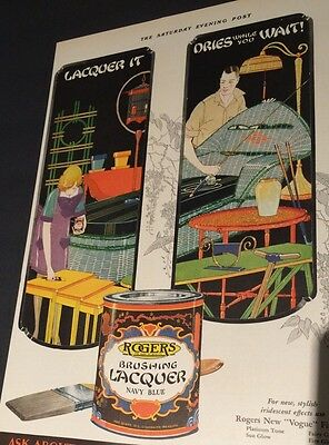 Rogers Lacquer Paint Flapper Girl Incredible Graphics 1920s  Art Deco Ad