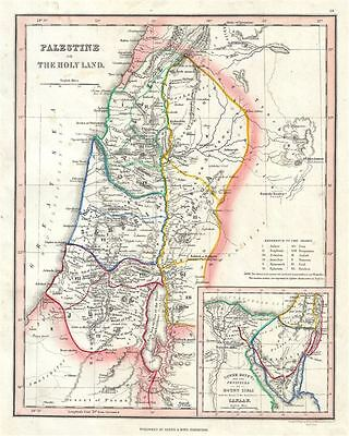 1845 Ewing Map of Palestine, Israel or the Holy Land