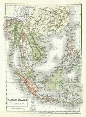 1851 Black Map of East Indies and Southeast Asia