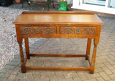 Solid Oak Old Charm Carved 2 Drawer Console/Side Table FREE DELIVERY
