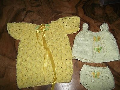 Dolls hand knitted dressing gown and baby doll PJs