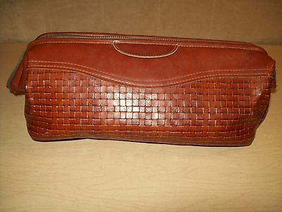 Vintage~Mens~ROLFS Leather~Woven~Valet~Shaving Case~Travel~Toiletry~Grooming