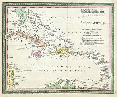 1854 Mitchell Map of the West Indies (Cuba, Hispaniola, Porto Rico)