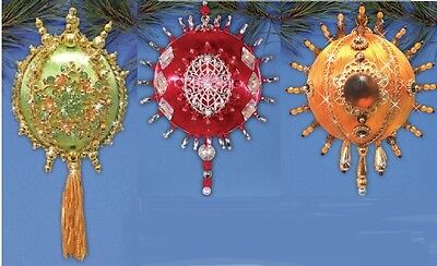 Kit makes 1 Satin Ball ornament with Medallion Choose from 3 designs/colors NEW