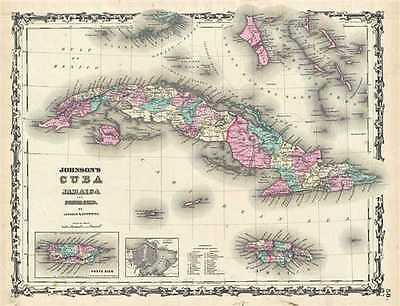 1861 Johnson Map of Cuba, Jamaica and Puerto Rico