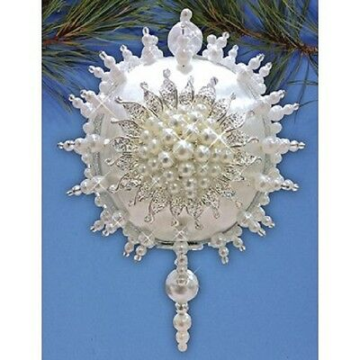 """Kit makes 1 """"Pearl Brooch"""" collector ornament Christmas White beads sequins"""