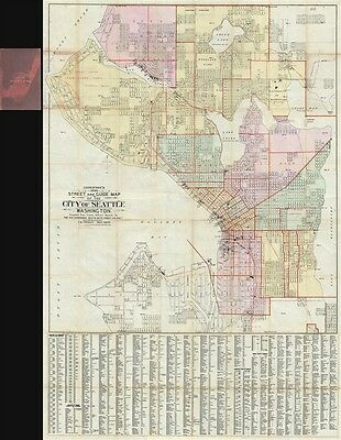 1896 Anderson Large Map of Seattle, Washington
