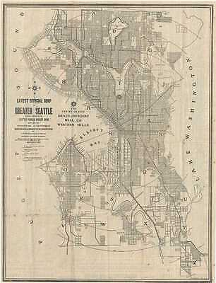 1908 Bemis and Lowman Map or City Plan of Seattle, Washington