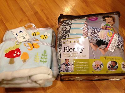 B2 Infantino Compact Shopping Cart Cover Multi-Colored + CARTER'S BABY BLANKET