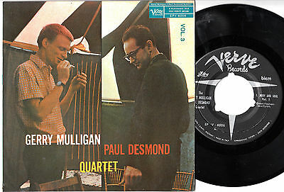 "GERRY MULLIGAN PAUL DESMOND QUARTET Vol.3 45giri EP 7"" Italy VERVE"