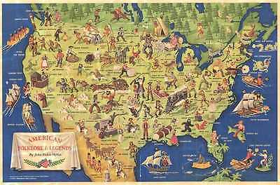 1950 McKee Pictorial Map of the Folklore and Legends of the United States