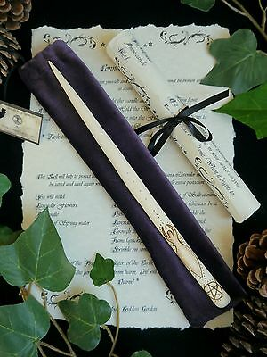 Hazel Wood Wand with Goddess & Triple Moon and Bag Wicca Witch Pagan Spells Gift