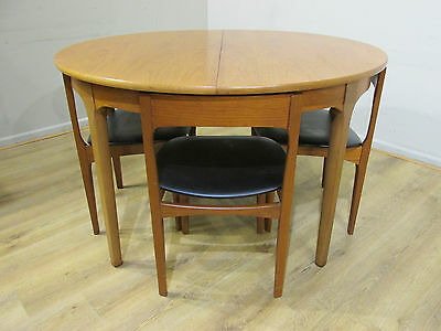 VINTAGE 70's TEAK DANISH STYLE NATHAN ROUND EXTENDING DINING TABLE & 4 CHAIRS
