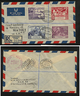 Cyprus  160-163   on   UPU  cachet first day cover  1949 registered    KEL1001
