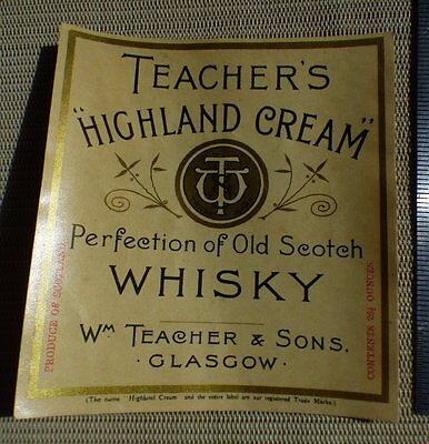 Vintage TEACHERS HIGHLAND CREAM SCOTCH WHISKEY BOTTLE LABEL Glasgow Scotland