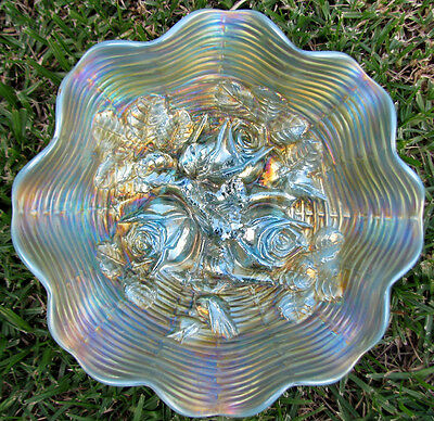 Northwood AQUA OPAL ROSE SHOW Ruffled Carnival Glass Bowl circa 1912