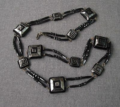 Antique Late 1800 Victorian Mourning Silvered Black Faceted Glass Wired Belt