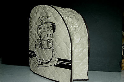 Vintage Quilted Vinyl Tan Brown Stand Mixer Cover --MINT