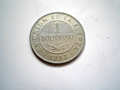 1 BOLIVIANO COIN FROM MODERN DAY BOLIVIA-DATED 1997 high grade
