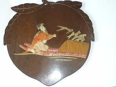 Antique/Old Chinese Wooden Carved Peach with Lady Soapstone Inlay Wall Decor