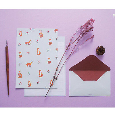 Cute Winter Fox - Letter set 4sh Lined Writing Stationery Paper 2sh Envelope