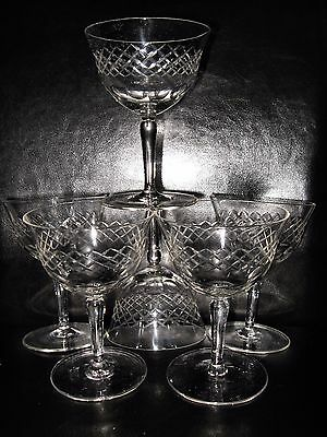 Set of 5 vintage champagne cocktail wine coupe hand cut crystal glasses