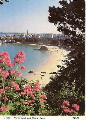 Tenby - North Beach and Goscar Rock -Posted Postcard