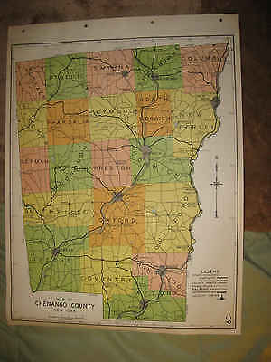 Antique 1941 Chenango County New York Map Oxford Greene Bainbridge Norwich Nr