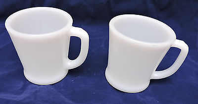 Lot of 2 Vintage Fire King White Milk Glass Coffee Cups D Ring Handles
