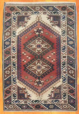 CLEARANCE SALE Semi Antique Hand Knotted Persian Heriz Wool Rug 4x3 FT (574A)
