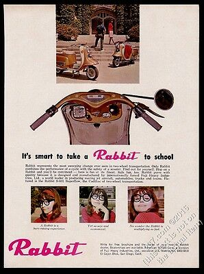1965 Rabbit scooter moped pretty woman in glasses 3 color photo vintage ad