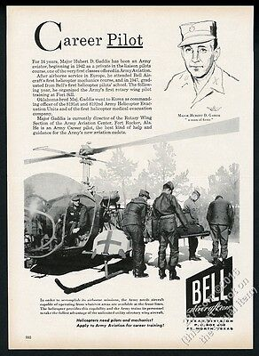 1956 Bell H-13 US Army MASH helicopter photo pilot art vintage print ad
