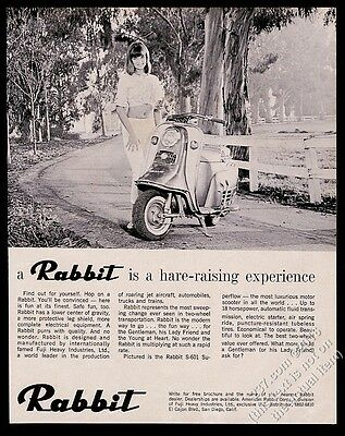 1965 Rabbit scooter moped pretty woman photo Hare-Raising Experience vintage ad
