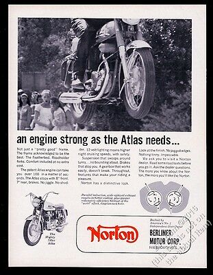 1966 Norton Atlas 750cc motorcycle photo vintage print ad