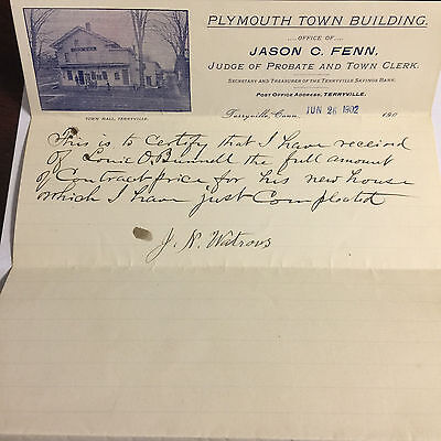 Terryville Savings Bank Letterhead 1902 Plymouth Town Building Town Hall Picture