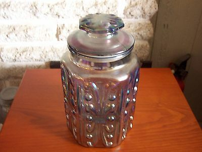 Nice Vintage Iridescent Carnival Cookie Or Apothecary Jar 9""