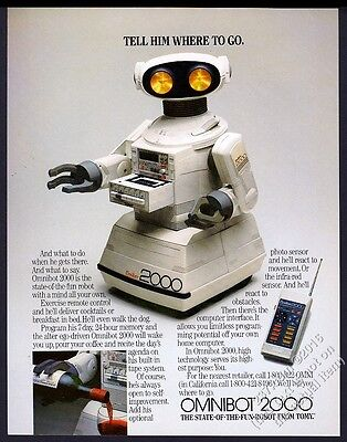 1985 Tomy Omnibot 2000 remote controlled bot color photo vintage print ad