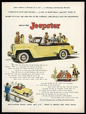 1948 Jeep Jeepster yellow SUV color photo vintage print ad