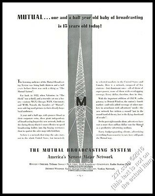 1936 Mutual Broadcasting System radio antenna graphic vintage print ad
