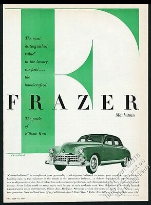 1949 Paul Rand art Frazer Manhattan green car vintage print ad