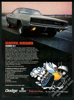 1968 Dodge Charger R/T RT car color photo Beautiful Screamer vintage print ad