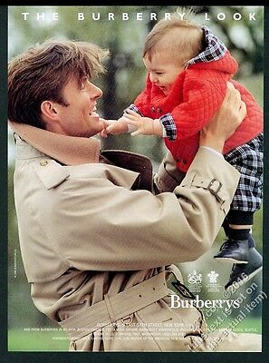 1990 Burberrys trenchcoat trench coat man and baby photo vintage print ad