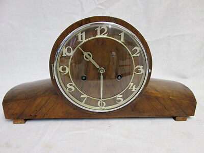 A Art Deco Walnut Chiming Mantel Clock Spare or Repair Requires main Spring