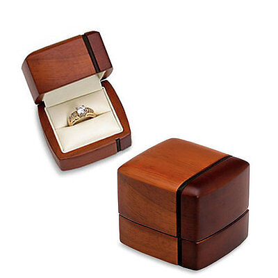 NWT Regal Two Tone Wood Engagement Wedding Ring or Band Presentation Box