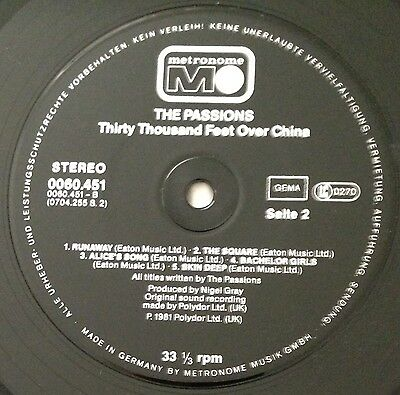 """The Passions - Thirty Thousand Feet Over China, 12"""" Vinyl Lp, Metronome 0060.451"""