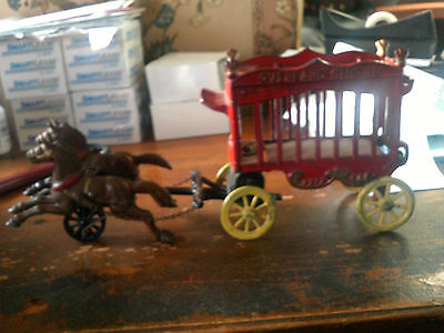 Vintage Cast Iron Overland Circus Horse & Wagon 13.5 Inches Long