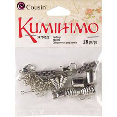 Silver - Kumihimo Assorted Metal Findings 28/Pkg