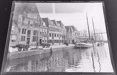 Boats at Wharf - Leiden - Netherlands - Antique Edwardian Glass Negative c1905