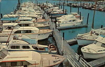 East Norwalk CT Boats in Harbor Connecticut Chrome Postcard